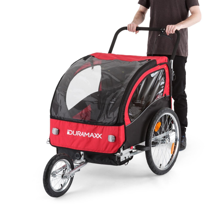 DURAMAXX Trailer Swift Remolque Bicicleta Infantil (Remolque Infantil 2 Asientos, máx. 20 kg, Convertible Carrito Paseo, cinturón Seguridad, ...
