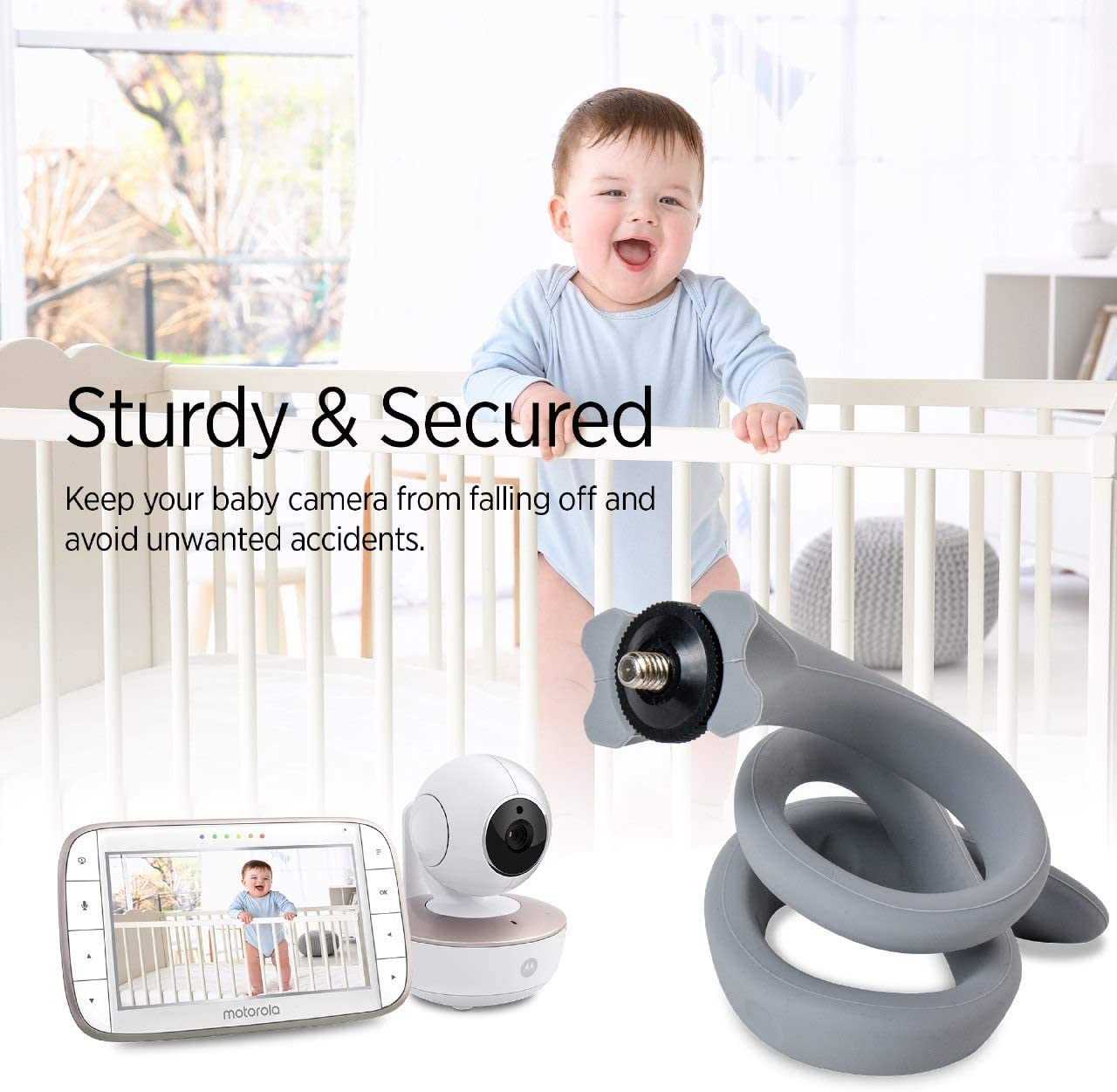Crib Camera Holder Stand for Motorola and Most Universal Baby Monitor with 1//4 Threaded Hole Attach Your Baby Camera Wherever You Like Without Any Tools or Damage Baby Monitor Mount