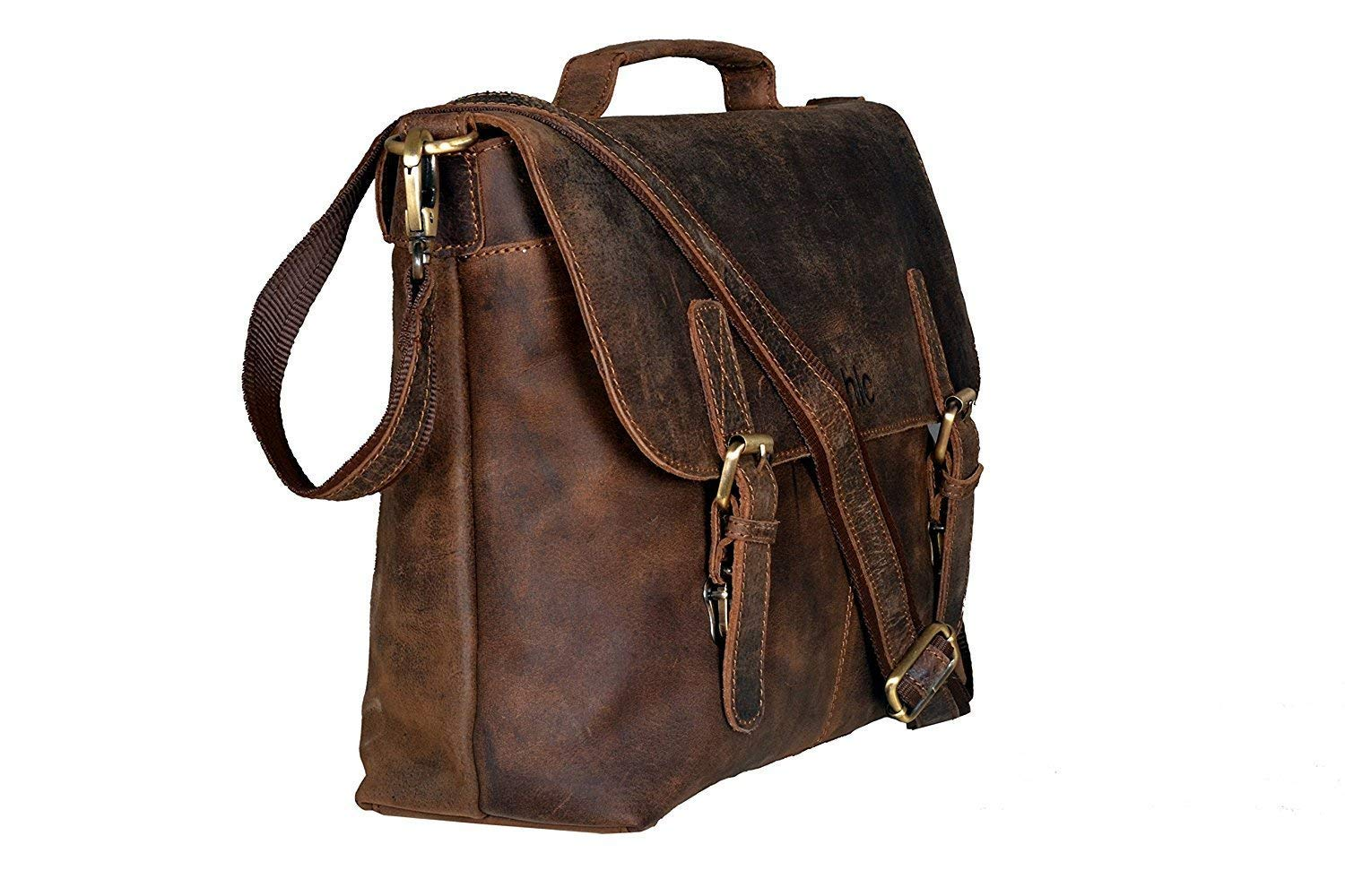 18 Inch Retro Buffalo Hunter Leather Laptop Messenger Bag Office Briefcase College Bag for Men and Women by handolederco. (Image #2)