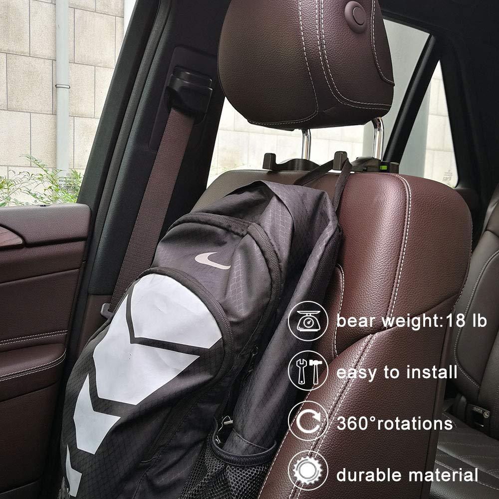Car Headrest Hooks Universal Vehicle SUV Organizer Car Back Seat Headrest Hanger Holder Hook for Bag Purse Cloth Grocery Beige Set of 2 G0016U
