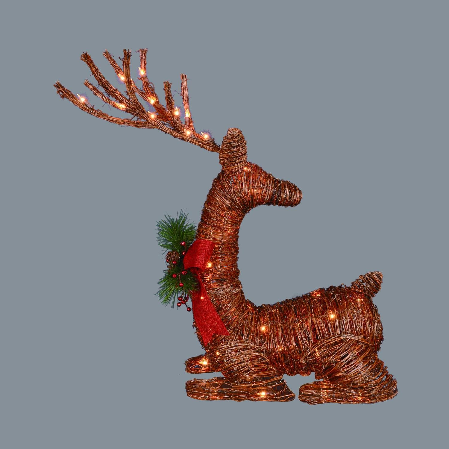 30'' Lighted Rattan Reindeer with Red Bow and Pine Cones Christmas Yard Art Decoration