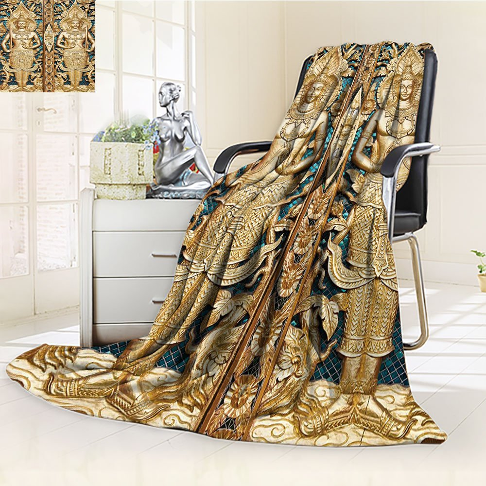 Nalohomeqq Rustic Custom Collection Thai Gate at Wat Sirisa Tong Thailand Buddhism Architecture History Spiritual Picture Microfiber Fabric Blanket Hypoallergenic Printed Fleece Blanket Golden Teal