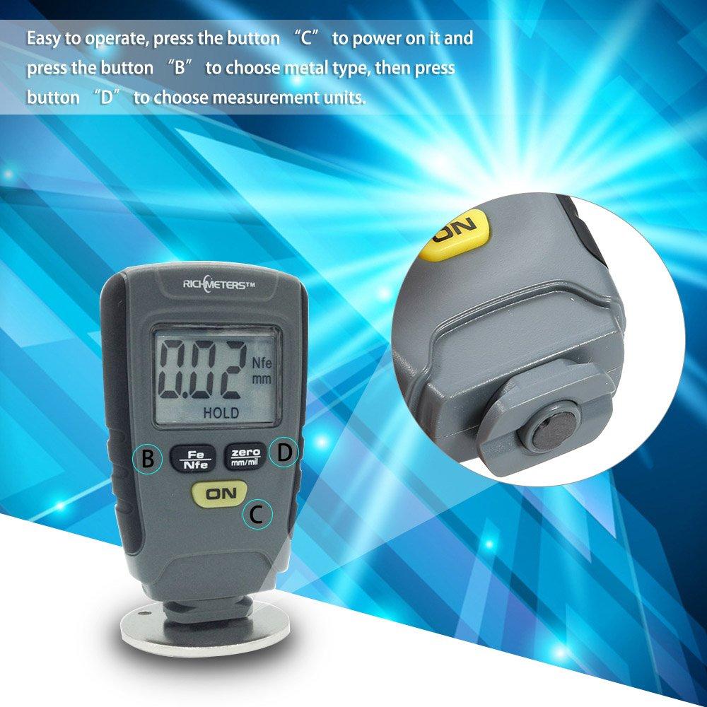 Grandey RM660 Digital Paint Coating Thickness Gauge LCD feeler gauge Tester Fe/NFe 0-1.25mm for Car Instrument Iron Aluminum Base Metal by Grandey (Image #2)