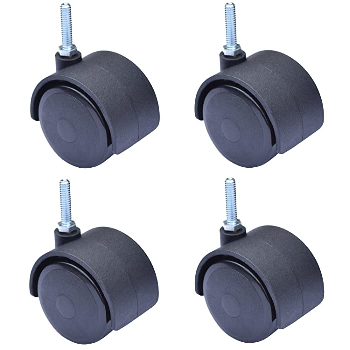 "MySit 2"" Swivel Stem Caster Wheel, Screwed Bolt 1/4"" x 1"" - 20, 4-Pack (CasterStem50_6x25C)"