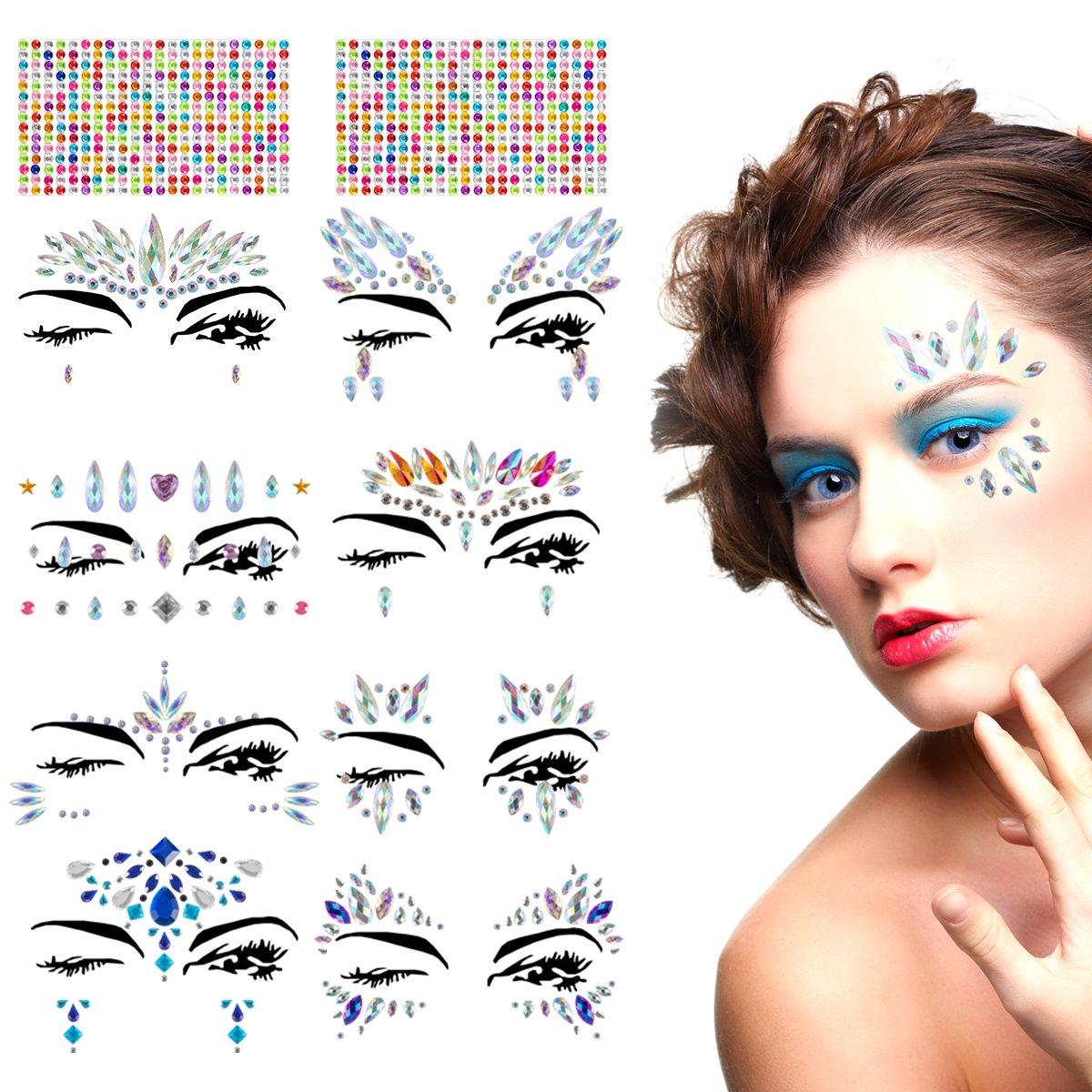 Madholly 10 sets Rhinestone Face Gems, self-adhesive Face Jewel Tattoo Sticker, Rave Festival Jewels Bindi Crystal Face Sticker