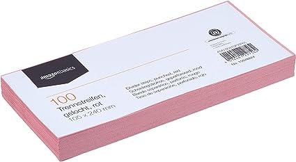 AmazonBasics - Índices separadores, de Manila recilclada, perforados, a todo color, 10,5 x 24 cm, 160 g/m2, paquete de 100, rojo: Amazon.es: Oficina y papelería