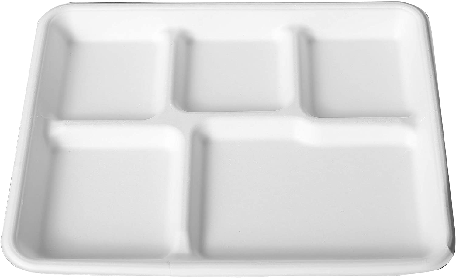 E.F.tableware 100% Compostable Plate 100-Pack 5-Compartment Disposable Tray, Eco-Friendly Made of Sugar Cane Fibers