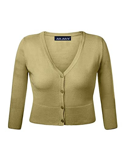 423761d93203 My Mix Trendz Women Cropped Spring Front Button Down Cardigan Sweater 6-12  at Amazon Women's Clothing store: