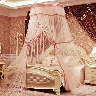 Bed Canopies & Drapes Zanzariera a Cupola per soffitto, Stile Principessa, Rotonda, Doppia zanzariera 180x220cm(71x87inch) K