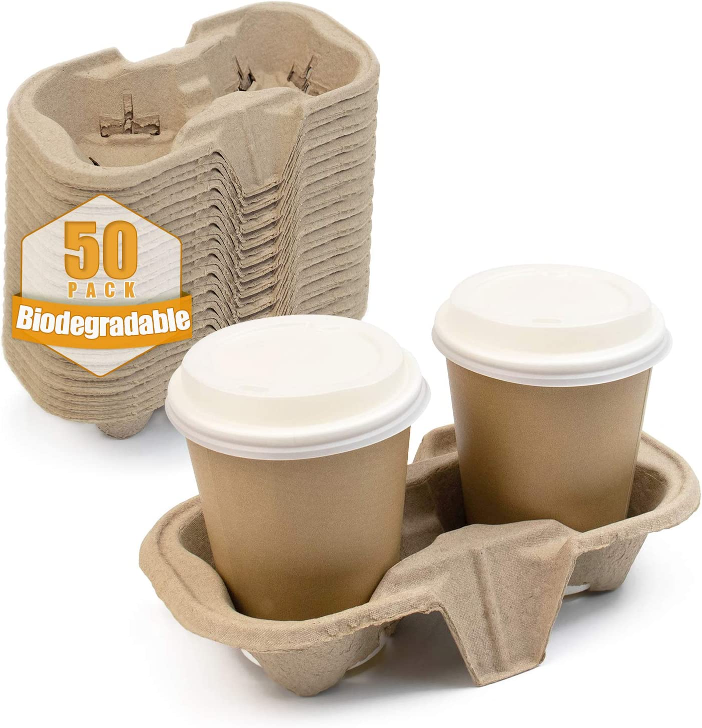Green Earth, 50 Pack 2-Drink Biodegradable Cup Tray, Eco-Friendly Carrier for Hot and Cold Drinks, Great for to-Go Orders, Stackable and Sturdy, Environment Safe