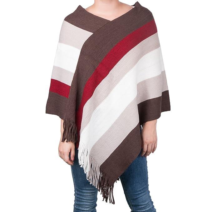 e06f88444ea2e1 Zerlar Womens Striped Tassel Pullover Knitwear Poncho Sweater Cape Shawl  Wrap Tops (Beige)