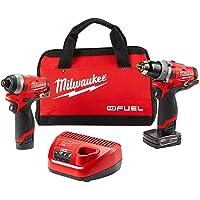 Milwaukee M12 FUEL 12-Volt Li-Ion Brushless Cordless Hammer Drill and Impact Driver Combo Kit + Milwaukee 2457-20 M12 12V Cordless 3/8