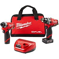 """Milwaukee Electric Tools 2598-22 M12 Fuel 2 Pc Kit- 1/2"""" Hammer Drill & 1/4"""" Impact"""