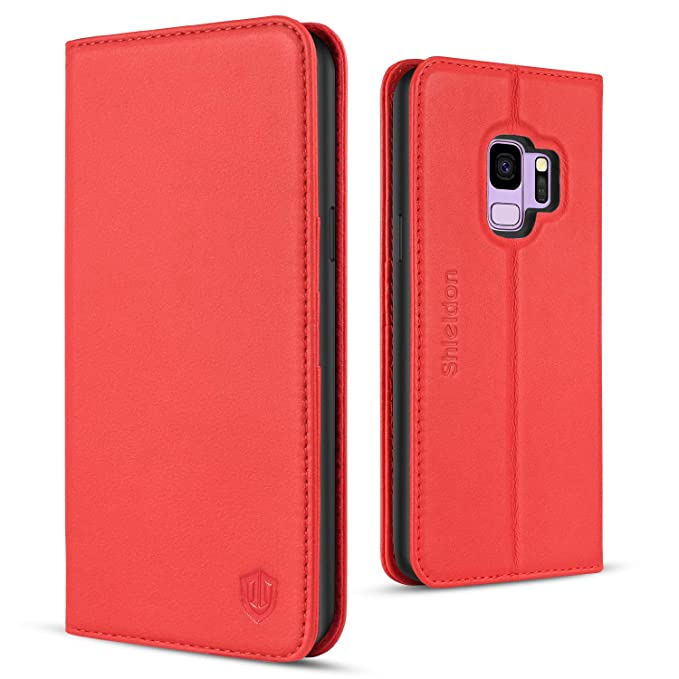 finest selection bfaad 90158 Galaxy S9 Case, SHIELDON Genuine Leather S9 Wallet Case Luxury Cash Credit  Card Slots Holder Magnetic Folio Flip Cover & Kickstand with Soft Case ...