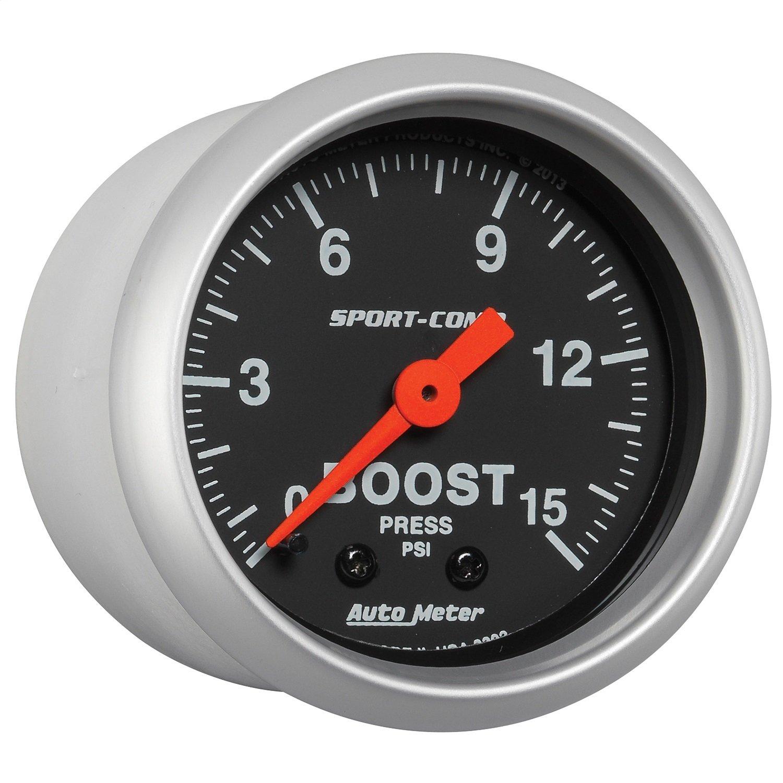 Sport Comp 2-1//16 0-15 PSI Mechanical Boost Gauge Auto Meter 3302