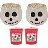 Yankee Candle Halloween Set TWO Skull Face Votive Holder Accessories & TWO Cranberry Pear Sampler Candles Decorative White/Silver Solid Glass Fireplaces/Tables Indoor/Outdoor Use