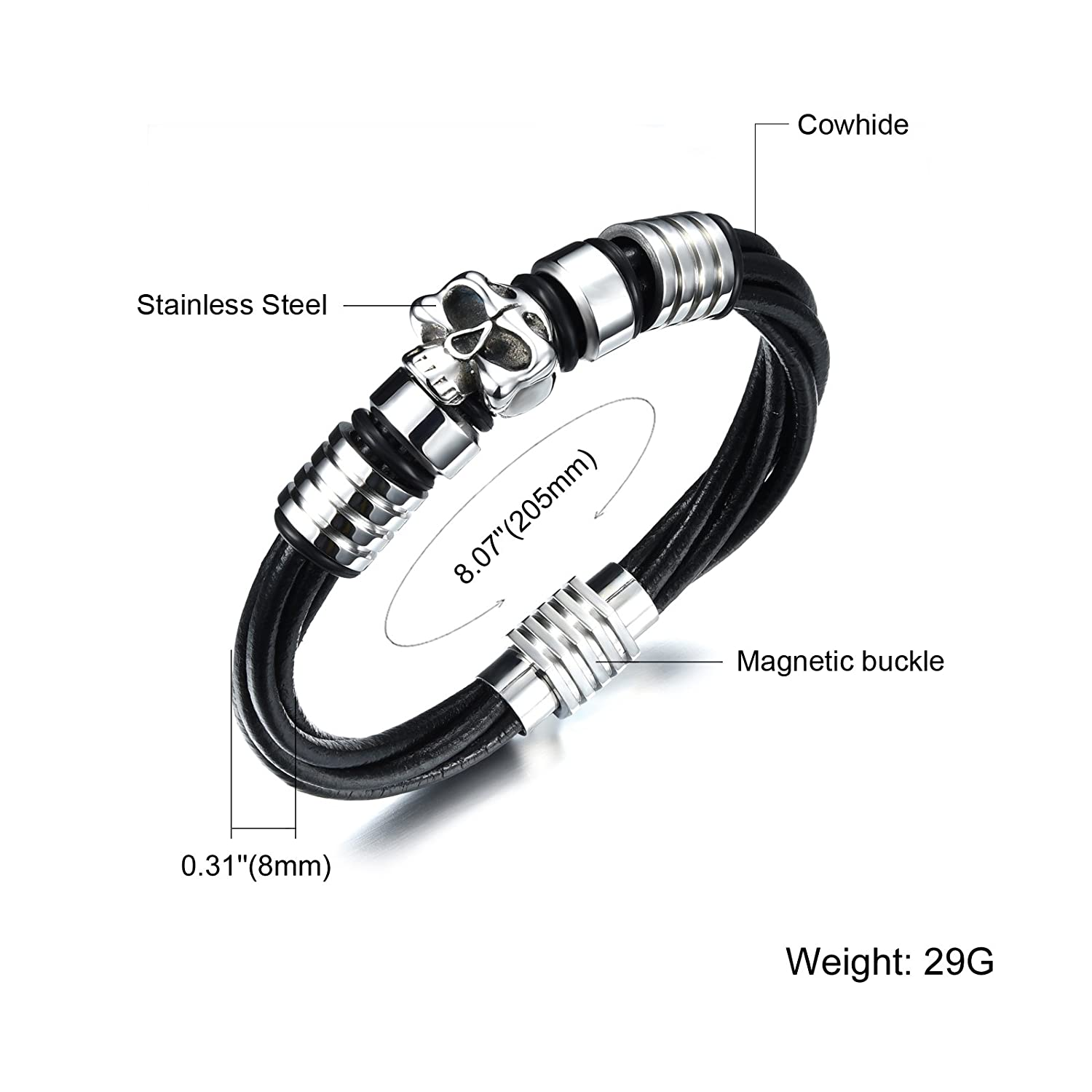 Fashion Bracelets Multistrand Genuine Leather Skull Magnetic Buckle Bracelet Wristband for Men Black