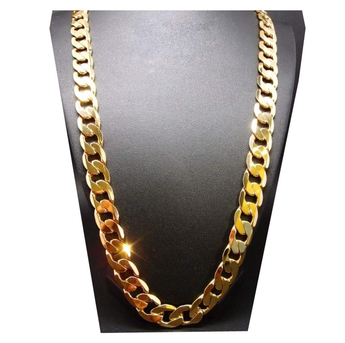 Gold Chain Necklace 7MM 24K Diamond Cut Smooth Cuban Link with a Warranty of A Lifetime USA Made! (24)