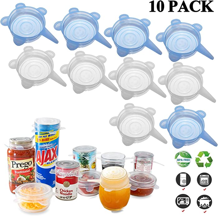 Silicone Stretch Lids (10 Pack, All 2.6inch), Adpartner BPA-free Seal Can Covers, Reusable Silicone Lids for Regular Mason Jars, Cups, Mugs, Soda, Canned Pet Food, Fit for 2.6 to 3.2 inch