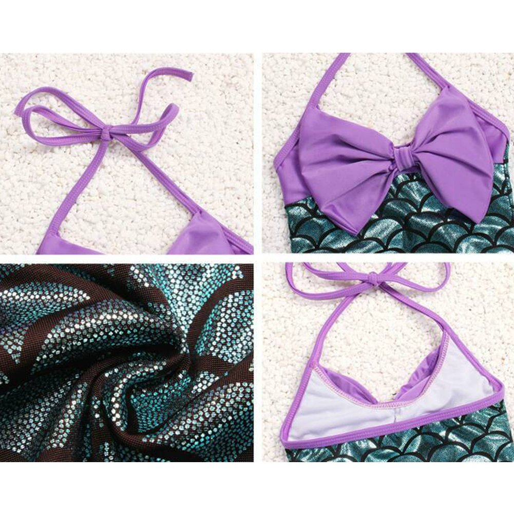 Verypoppa Little Girls One Piece Swimsuit Mermaid Bow Bathing Suit with Headband