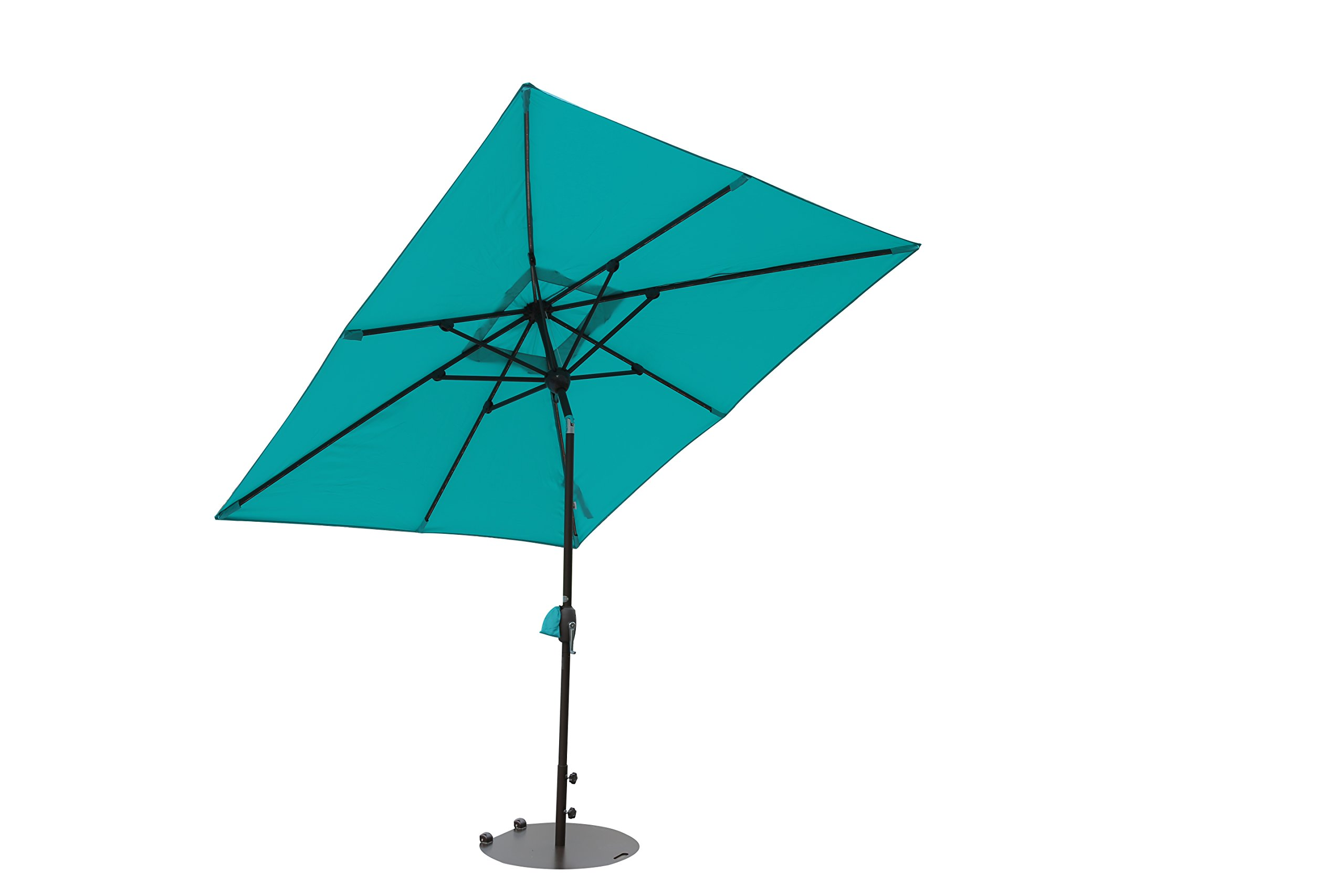 SORARA Patio Umbrella with Solar Powered Rectangular Table Umbrella with Solar Powered 68 LED Lights with Tilt&Crank&Umbrella Cover, 7 by 9 Feet, Turquoise