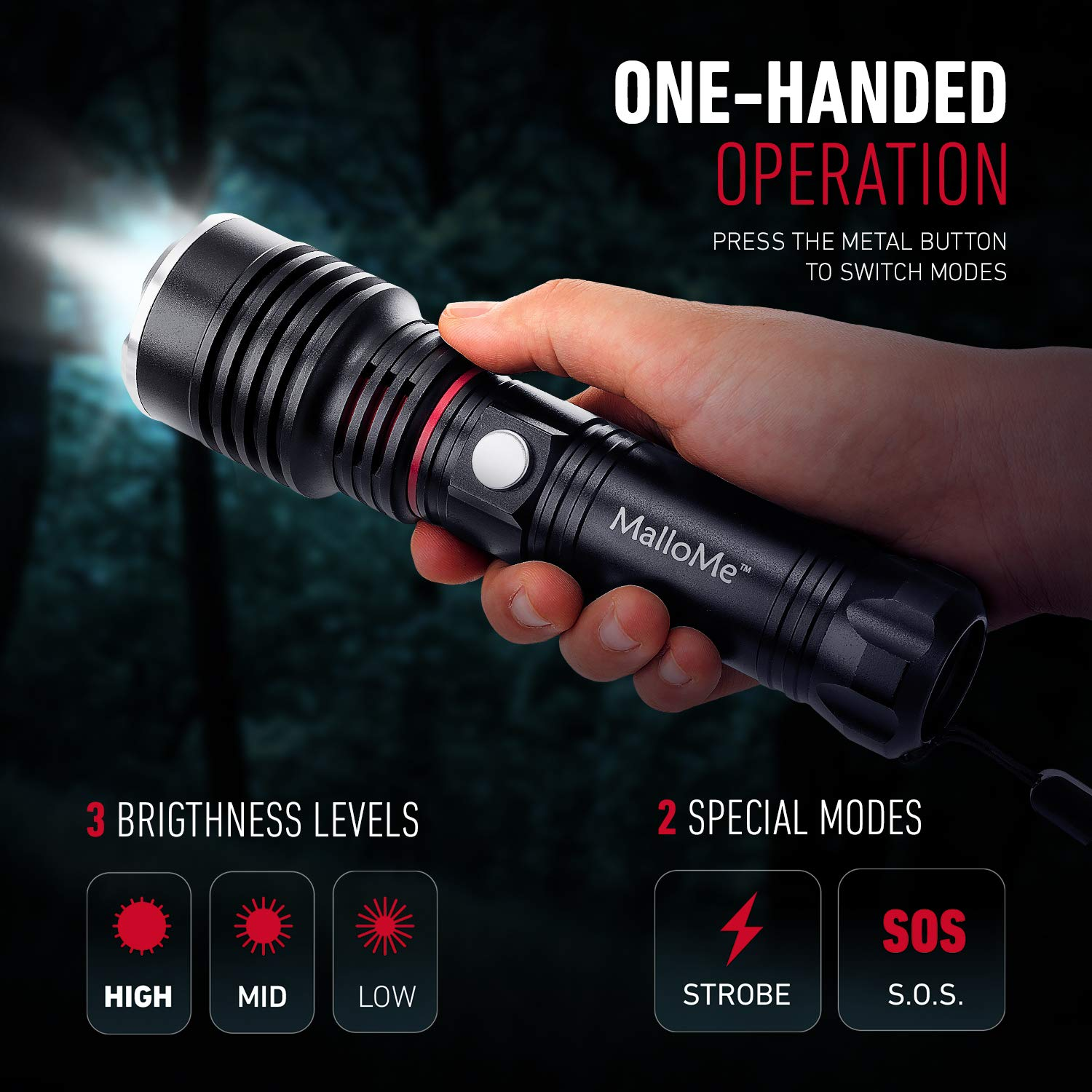 Small Flashlights MalloMe Tactical LED Flashlight High Lumens Better Than Mini EDC Extra Bright Cree Flash Light for Camping Torch AAA or 18650 FLONLY