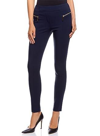 oodji Collection Femme Pantalon Cigarette Moulant Taille Haute avec  Fermetures Éclair Décoratives, Bleu, FR 95ffc0c4701d