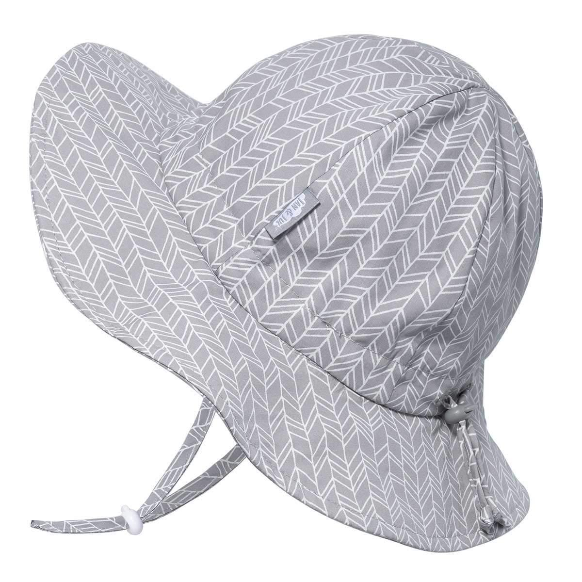 Toddler Boys Girls Cotton Sun Hats 50 UPF, Drawstring Adjustable, Stay-on Tie (M: 6-24m, Grey Herringbone)