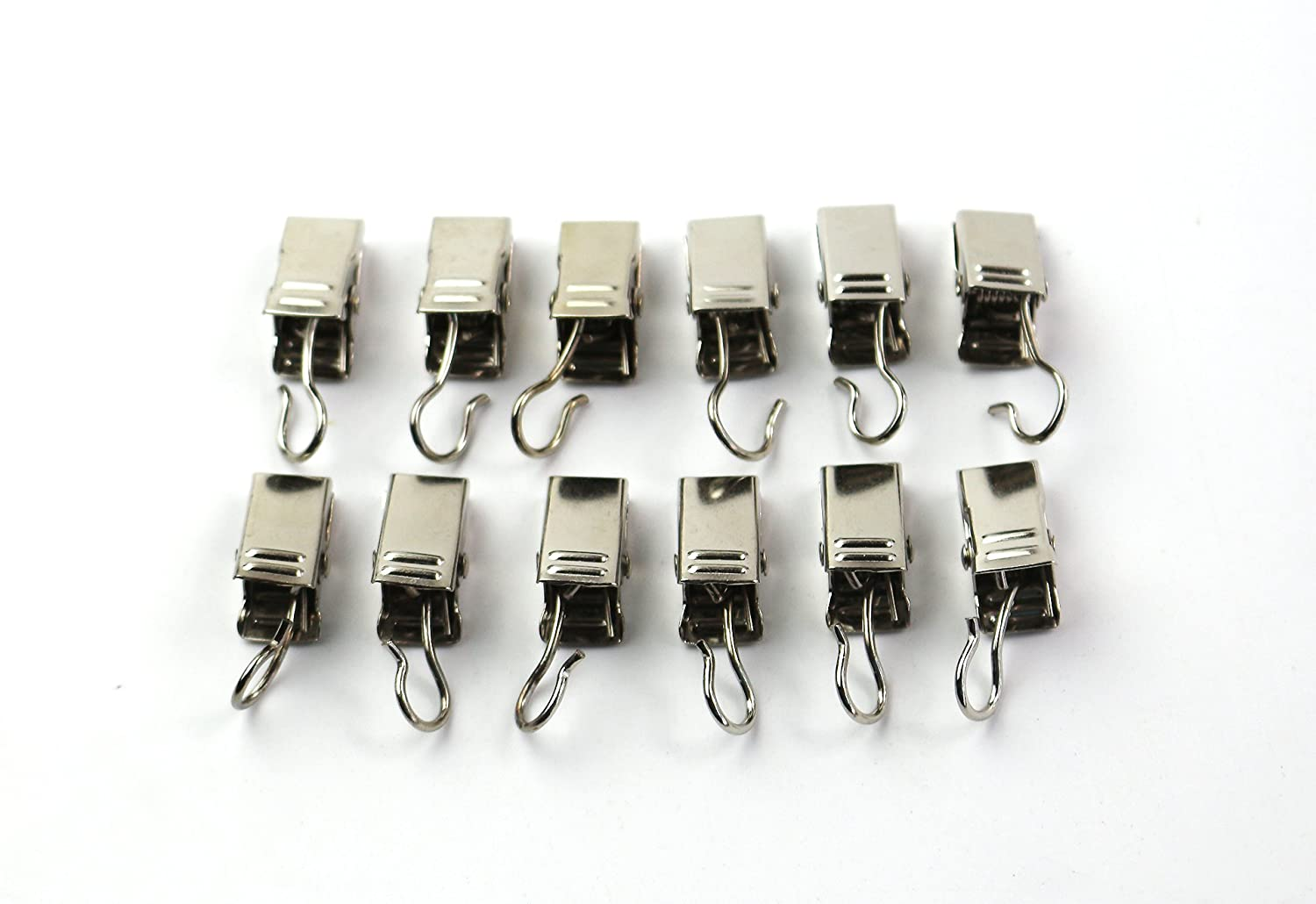 Furnishland 24 Pcs Curtain Hooks with Clips, Nickel Finish