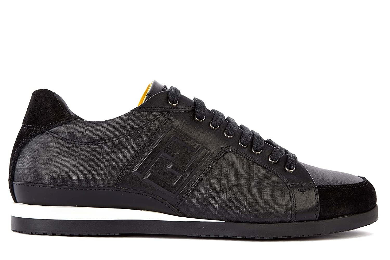 e4848e57 Fendi men's shoes leather trainers sneakers black UK size 10 7E0748 ...