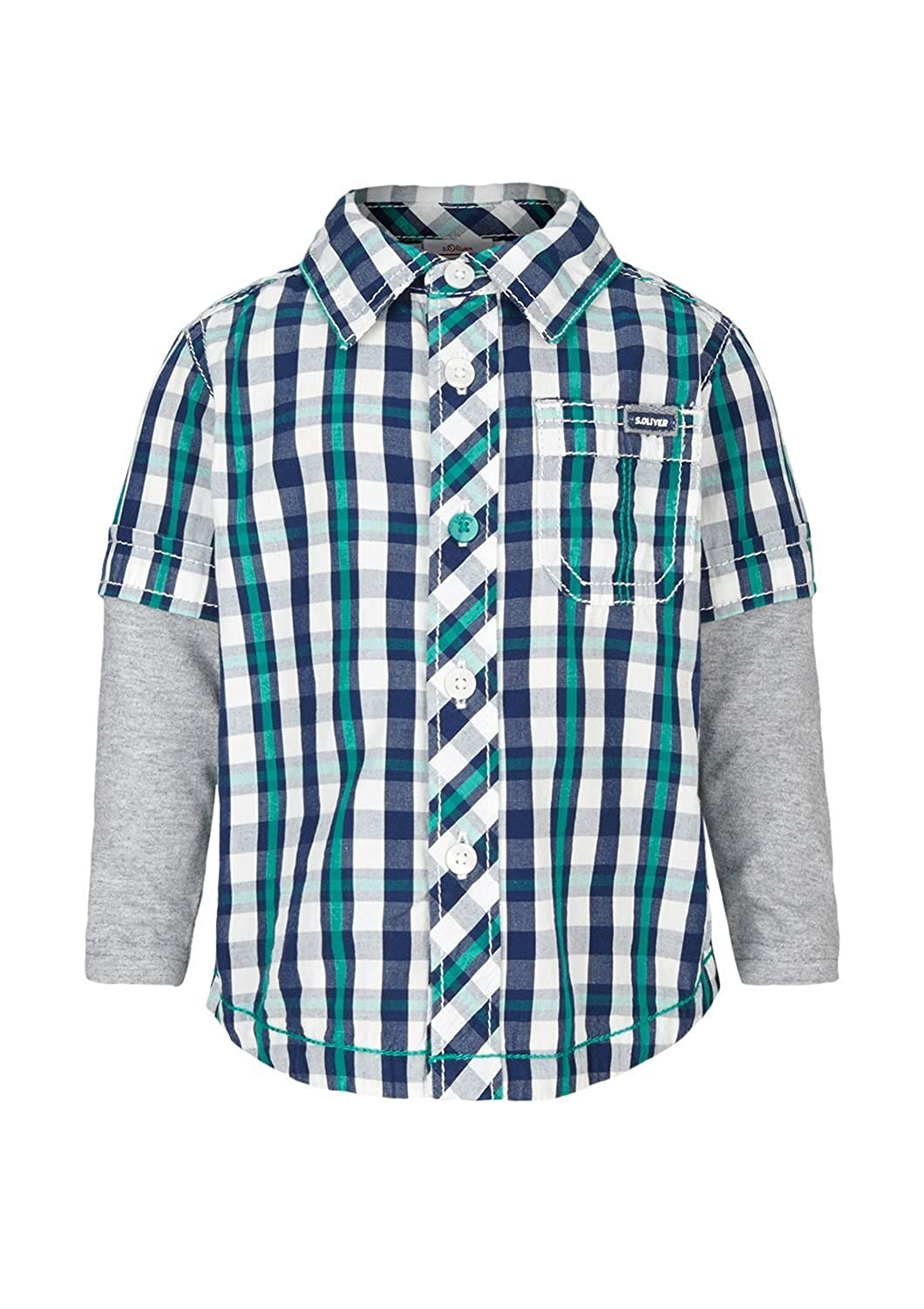 s.Oliver Baby Boys' Plaid Shirt with Jersey Sleeves, Sizes 12M-24M
