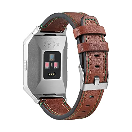 bayite Leather Bands Compatible Fitbit Ionic, Genuine Leather Replacement Accessories Straps Wristband Women Men