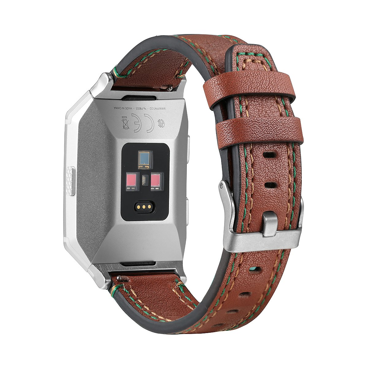 bayite Leather Bands Compatible Fitbit Ionic, Genuine Leather Replacement Accessories Straps Wristband Women Men, Coffee Brown