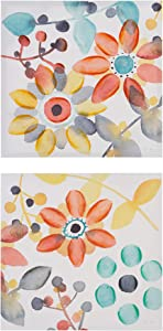 Intelligent Design, Sweet Florals 2 Piece Set Wall Art - Hand Embellished Canvas, Modern Contemporary Design Global Inspired Flower Abstract Painting Living Room Accent Décor, Orange Multi, 20 x 20