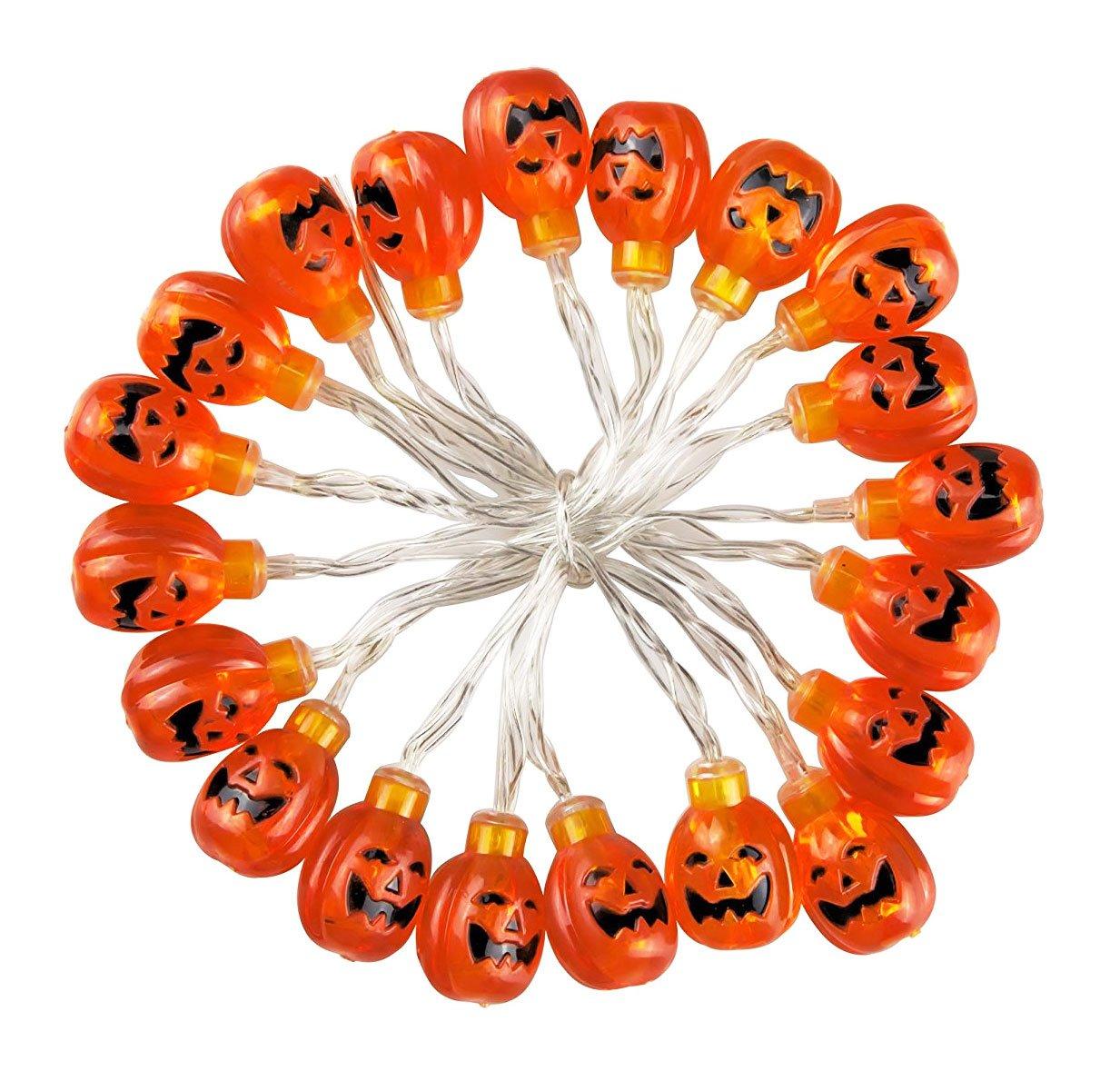 Set of 20 Halloween Pumpkin LED String Lights - Battery Powered