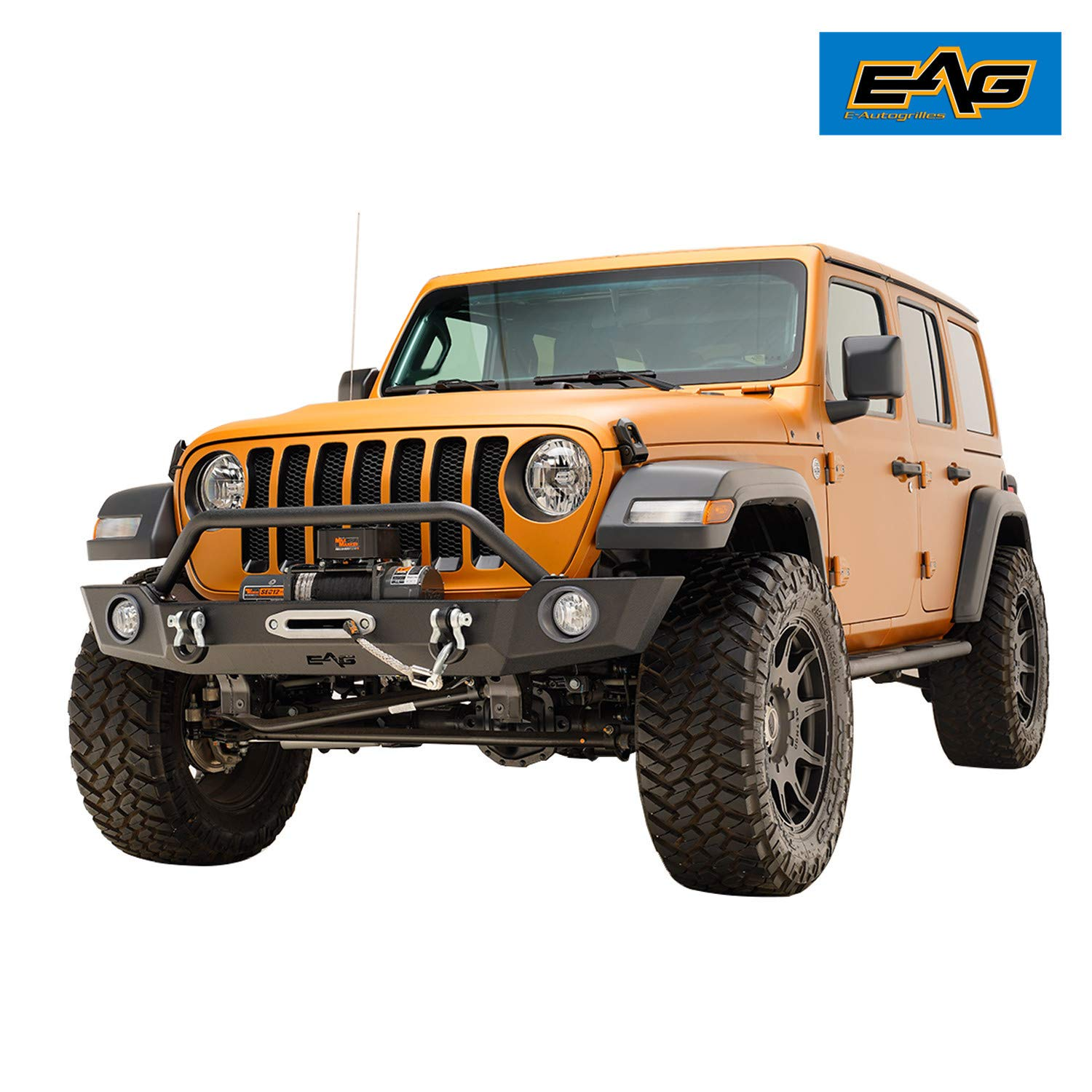 EAG Full Width Front Bumper Offroad with Fog Light Housing Fit for 18-19 Jeep Wrangler JL