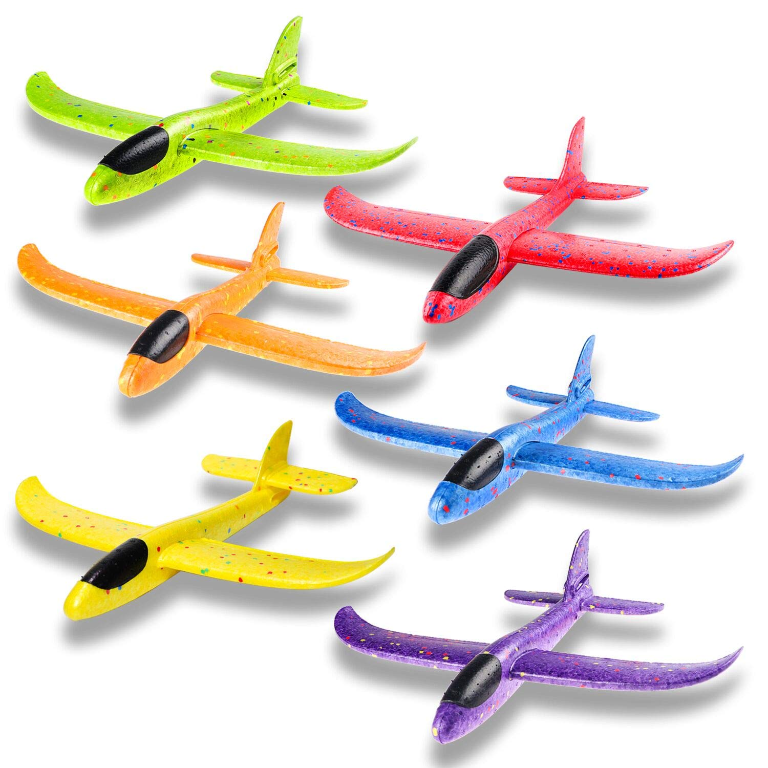 WATINC 6 pcs Airplane 14.5inch Manual Foam Flying Glider Planes Throwing Fun Challenging Games Outdoor Sports Toy Model Air Plane Two Flight Modes Blue Orange Aircraft for Boys Girls by WATINC (Image #1)