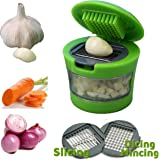 QUBIC INC Garlic Press Mini Chopper Garlic Mincer Slicer Dicer Grater Miniature Alligator Chopper Press for Garlic, Soft Vegetables, Nuts, Foods. Two Interchangeable Blades (Green)