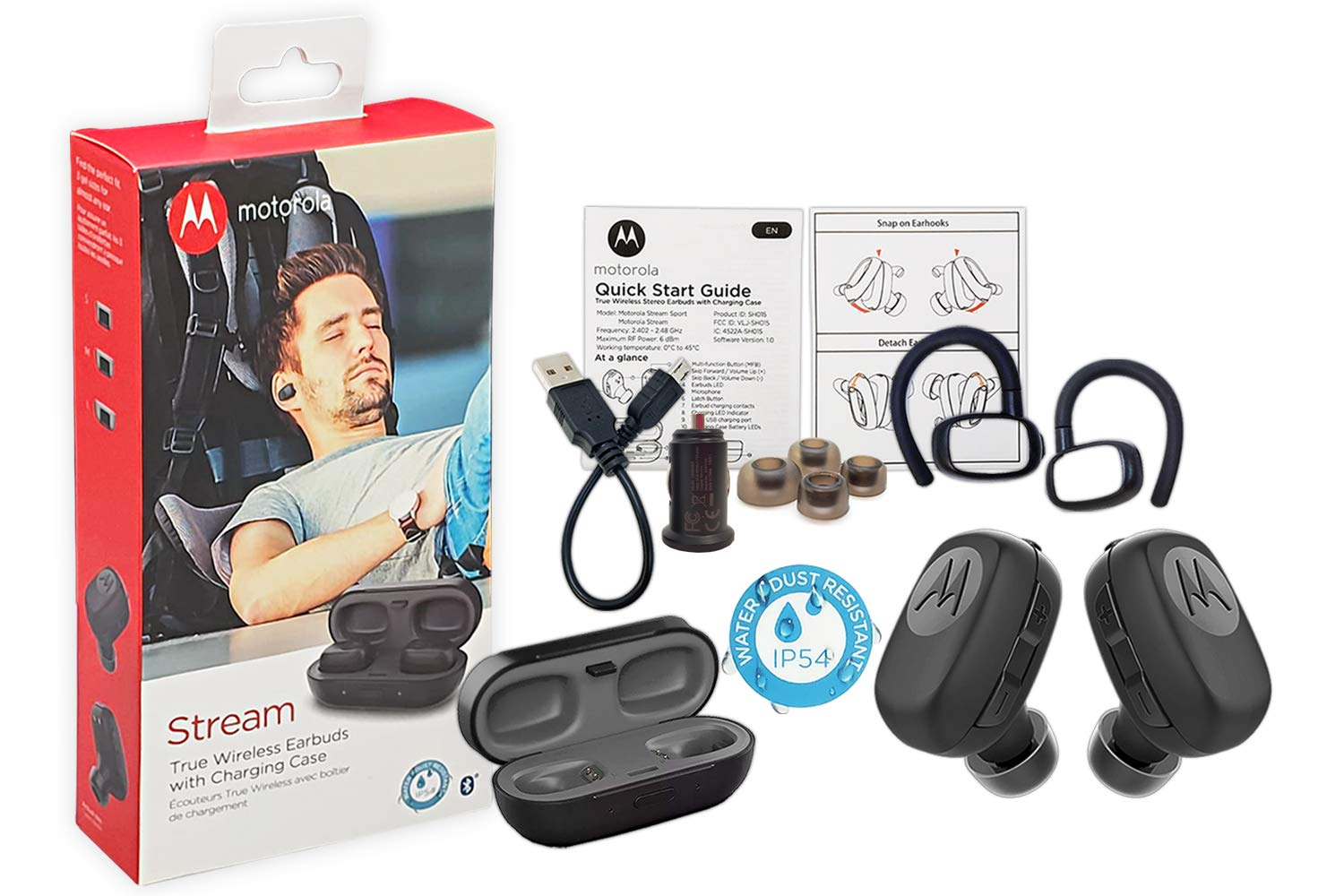 Motorola SH015 Stream True Wireless''HD'' Headset''Water-Dust Resistant'' Bluetooth With Charging Case - Car Charger/3FT USB & Ear Gel -Hook (Retail Packing Kit)