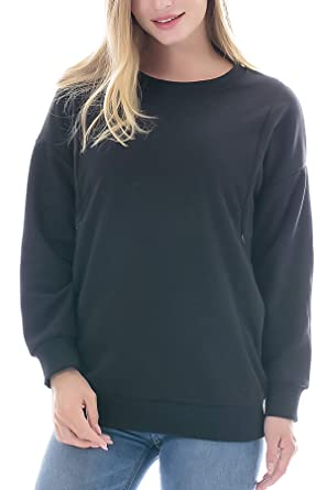 ece953c6febb0 Smallshow Women's Fleece Maternity Nursing Sweatshirt Breastfeeding Tops  Small Black