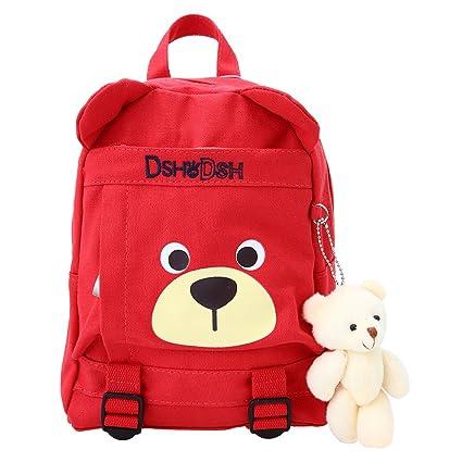 Amazon.com: Decdeal Kids Bear Backpack Canvas Cute Cartoon Children Kindergarten Primary Schoolbags: Home & Kitchen