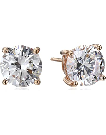0f03152bb Plated Sterling Silver Round-Cut Stud Earrings made with Swarovski Zirconia