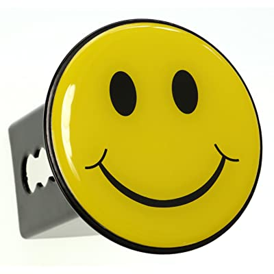 "LFPartS Yellow Smiley Happy Face Trailer Metal Hitch Cover Fits 2"" Receivers: Automotive"