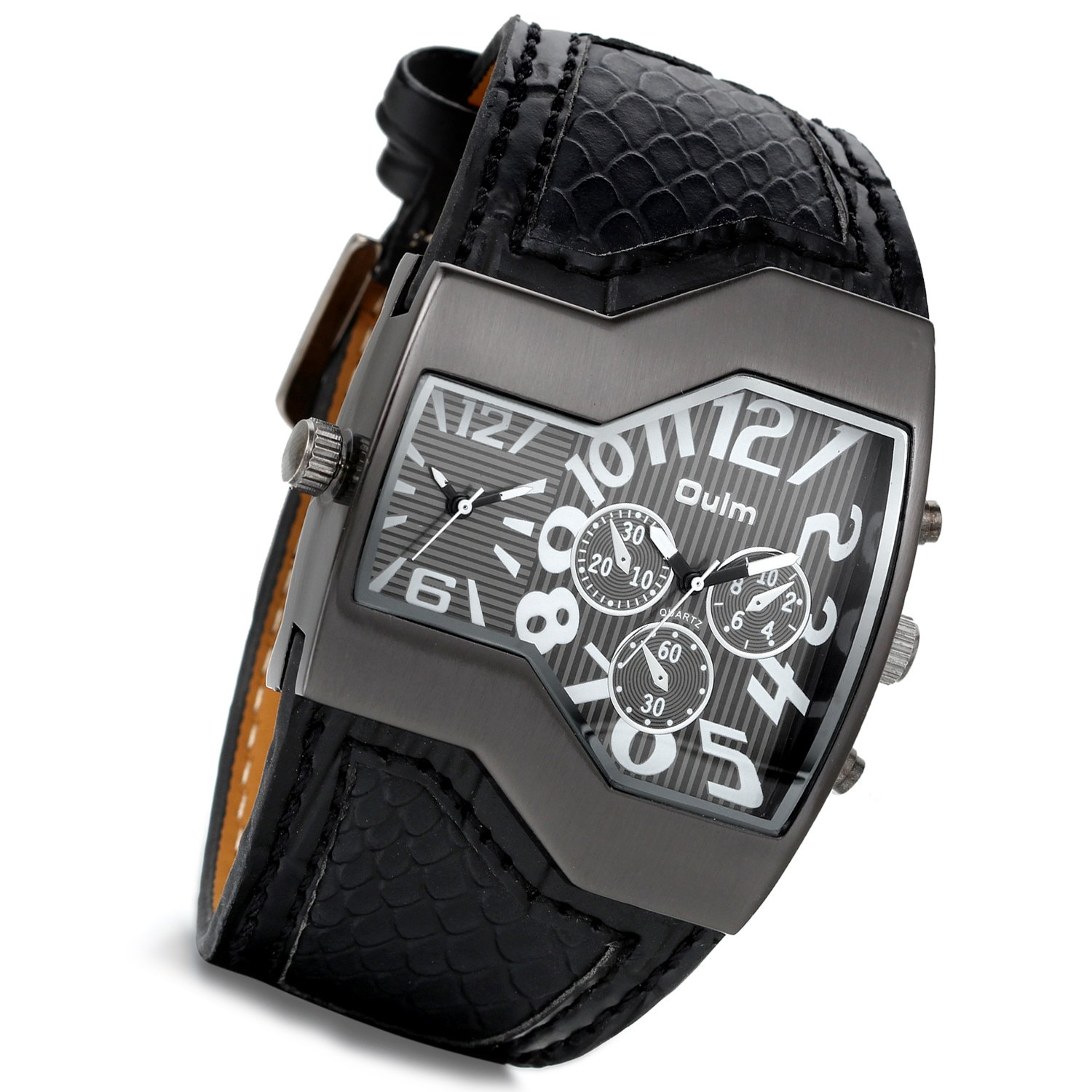 Amazon.com: Mens Military Oversize Big Face Rectangle Dual Timezone Black Leather Sports Watch with Japanese Movement: Watches