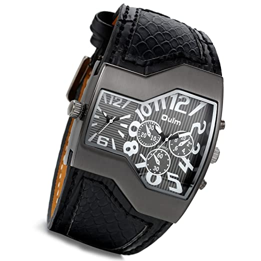 Mens Military Oversize Big Face Rectangle Dual Timezone Black Leather Sports Watch with Japanese Movement