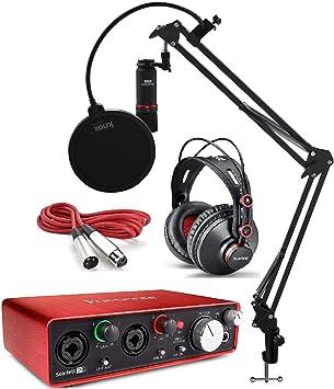 Focusrite Scarlett 2i2 Studio Interfaz de Audio USB y Paquete de grabación (2ª generación) Plus Boom de suspensión con micrófono Knox Gratuito Brazo de Tijera y 2 filtros Pop de Knox: Amazon.es: