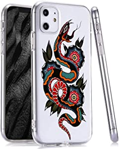 LuGeKe Snake Print Phone Case for iPhone 7 Plus/iPhone 8 Plus, Slim Fit Animal Tattoo Pattern Clear TPU Cases Cover Scratch Resistant Flexible Transparent Skin Frame (Fashion Snake)