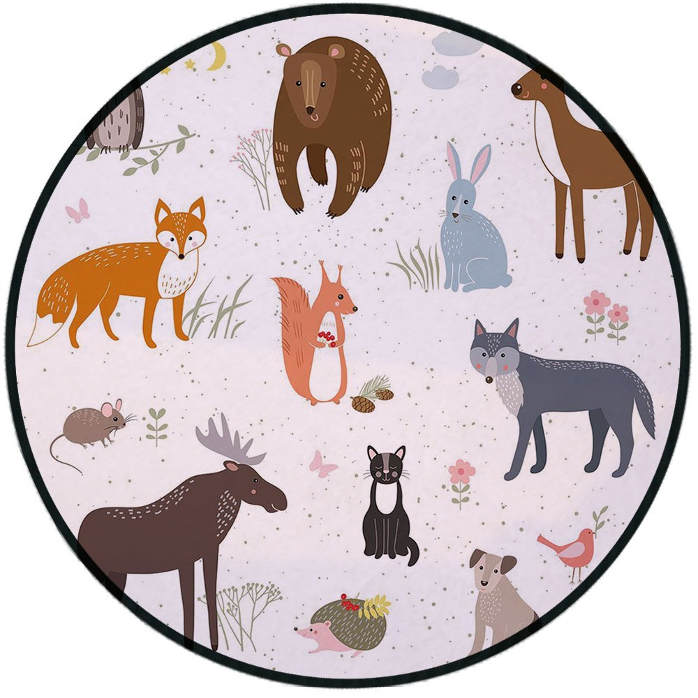 Printing Round Rug,Cabin Decor,Cute Animals in Spring Meadow Childish Woodland Fauna Kids Baby Room Nursery Decorative Mat Non-Slip Soft Entrance Mat Door Floor Rug Area Rug For Chair Living Room,Mult