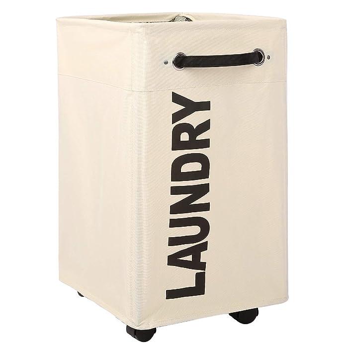 "Caroeas 23"" Pro+ Wheeled Laundry Hamper Black&White Breathable Cover Heavy Duty Laundry Sorter Dirty Clothes Organizer Waterproof Foldable Laundry Basket Extra Large Laundry Bag (Pro Plus 23"",Beige)"