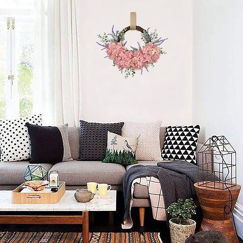 ornamento da appendere alla parete per casa e fattoria YHNJI Ghirlanda di ortensia artificiale per porta dingresso 41,9 cm in finta seta decorazione primaverile